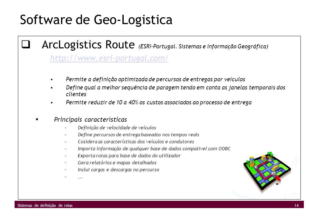 14 Sistemas de definição de rotas Software de Geo-Logistica ArcLogistics Route (ESRI-Portugal. Sistemas e Informação Geográfica) http://www.esri-portu