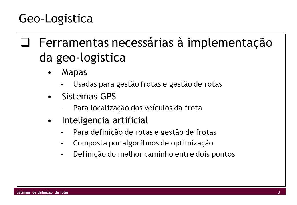 3 Sistemas de definição de rotas Geo-Logistica Ferramentas necessárias à implementação da geo-logistica Mapas –Usadas para gestão frotas e gestão de r