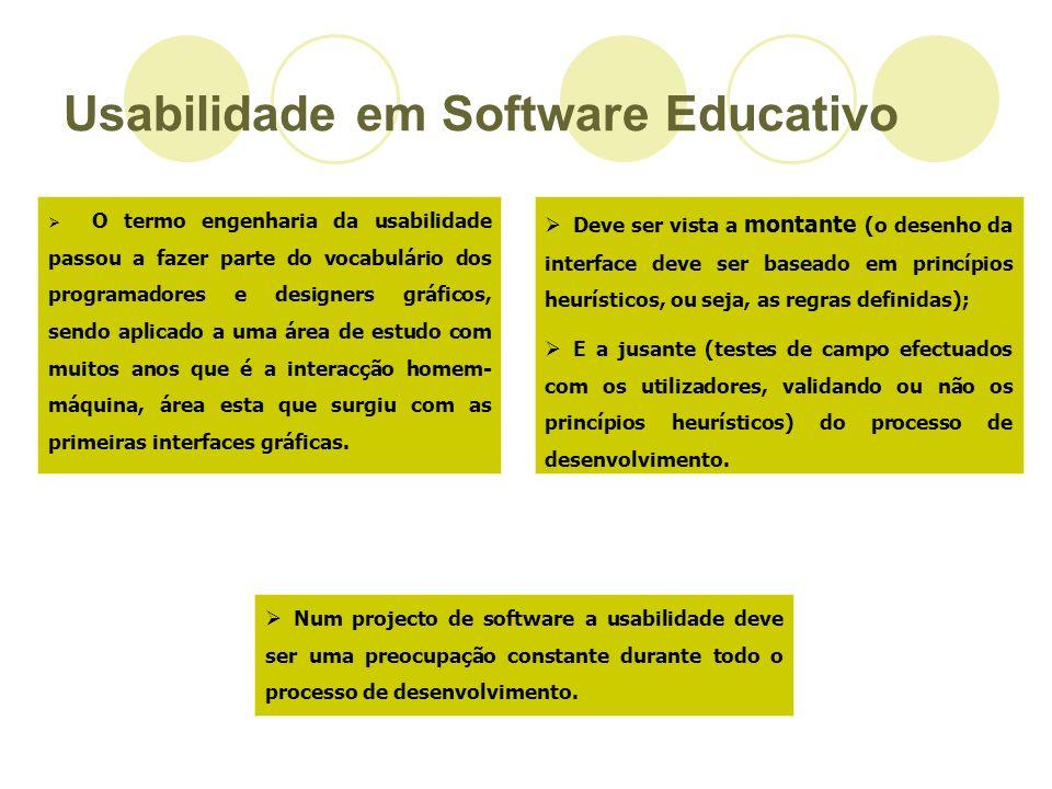 Usabilidade em Software Educativo O termo engenharia da usabilidade passou a fazer parte do vocabulário dos programadores e designers gráficos, sendo