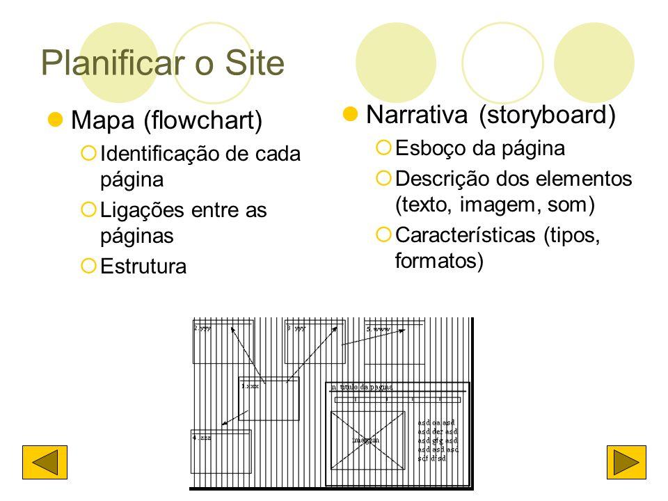 Planificar o Site Mapa (flowchart) Identificação de cada página Ligações entre as páginas Estrutura Narrativa (storyboard) Esboço da página Descrição