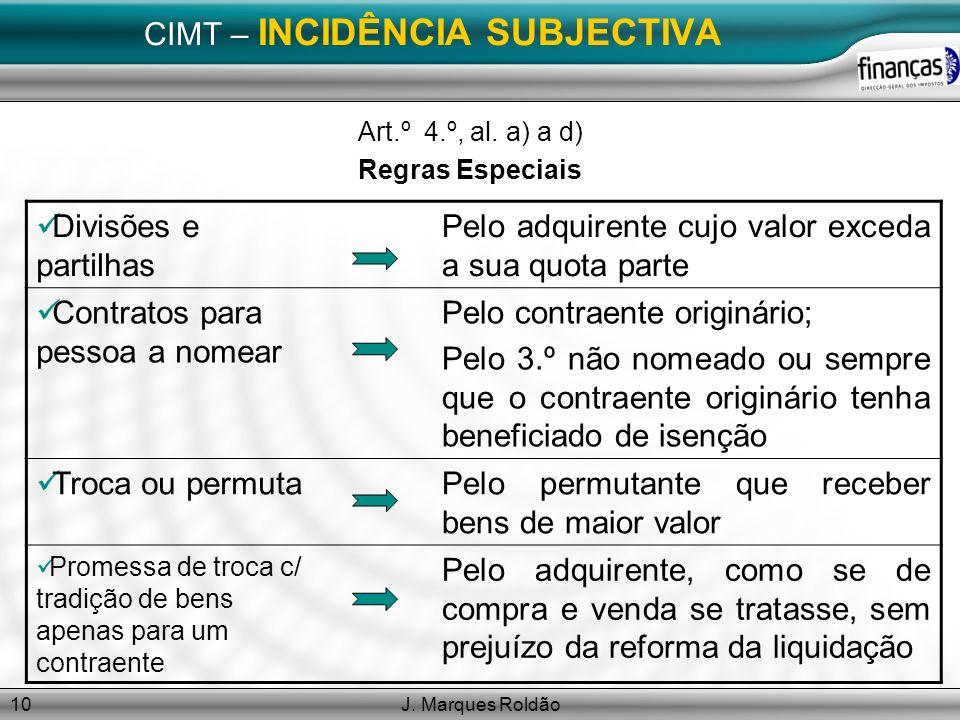 J. Marques Roldão10 CIMT – INCIDÊNCIA SUBJECTIVA Art.º 4.º, al. a) a d) Regras Especiais Divisões e partilhas Pelo adquirente cujo valor exceda a sua