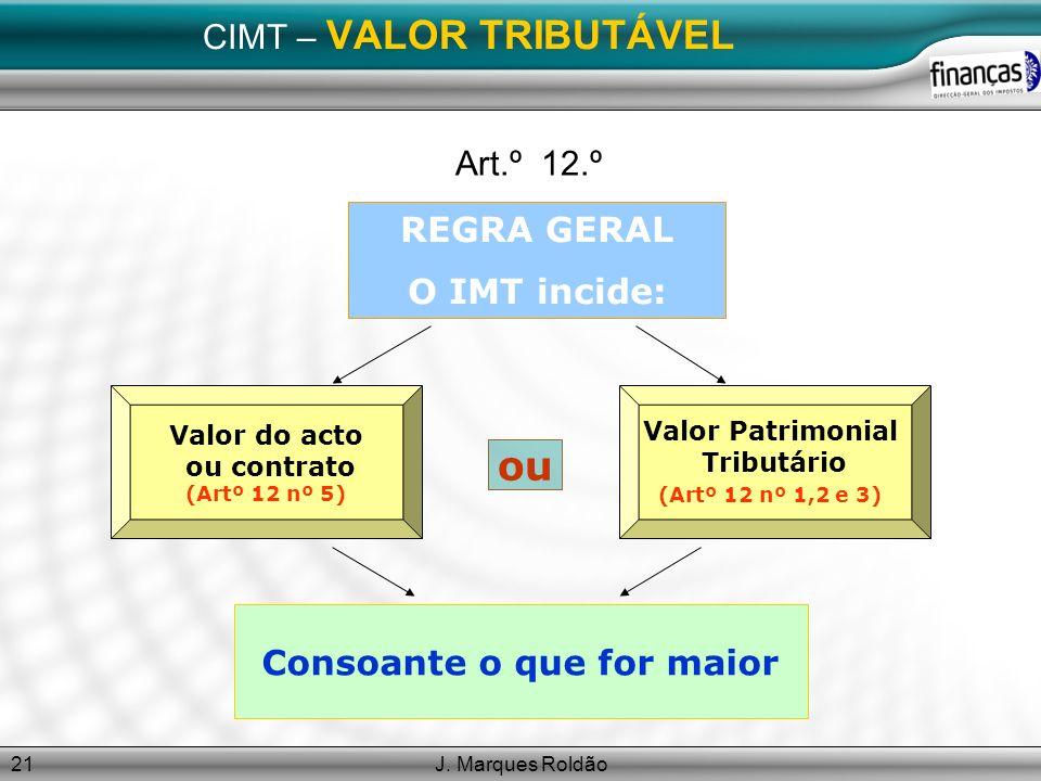 J. Marques Roldão21 CIMT – VALOR TRIBUTÁVEL Art.º 12.º REGRA GERAL O IMT incide: Valor do acto ou contrato (Artº 12 nº 5) Valor Patrimonial Tributário