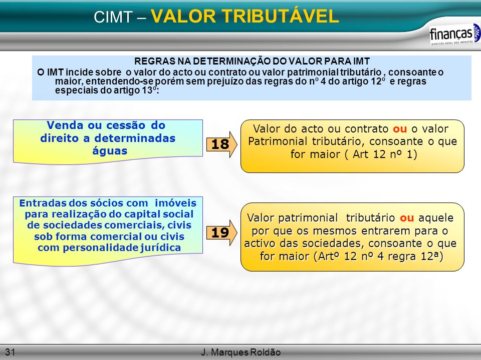 J. Marques Roldão31 CIMT – VALOR TRIBUTÁVEL REGRAS NA DETERMINAÇÃO DO VALOR PARA IMT O IMT incide sobre o valor do acto ou contrato ou valor patrimoni