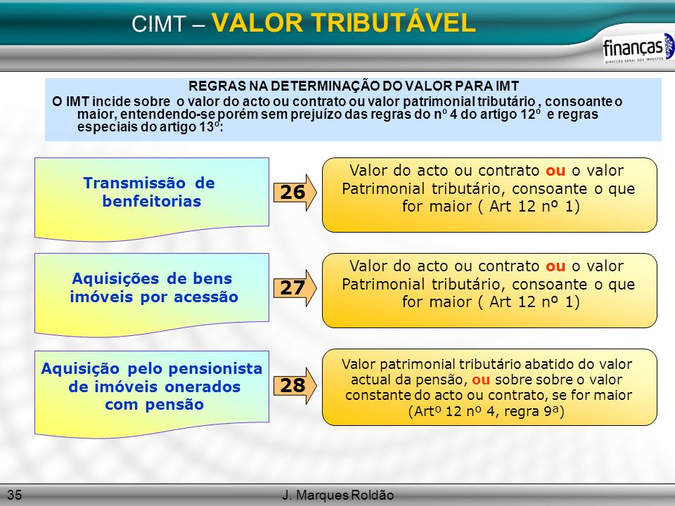 J. Marques Roldão35 CIMT – VALOR TRIBUTÁVEL REGRAS NA DETERMINAÇÃO DO VALOR PARA IMT O IMT incide sobre o valor do acto ou contrato ou valor patrimoni