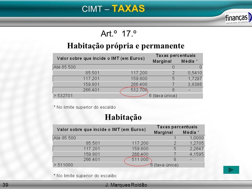 J. Marques Roldão39 CIMT – TAXAS Habitação própria e permanente Art.º 17.º Habitação