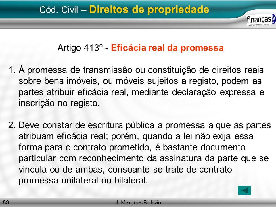 J. Marques Roldão53 Cód. Civil – Direitos de propriedade Artigo 413º - Eficácia real da promessa 1.À promessa de transmissão ou constituição de direit