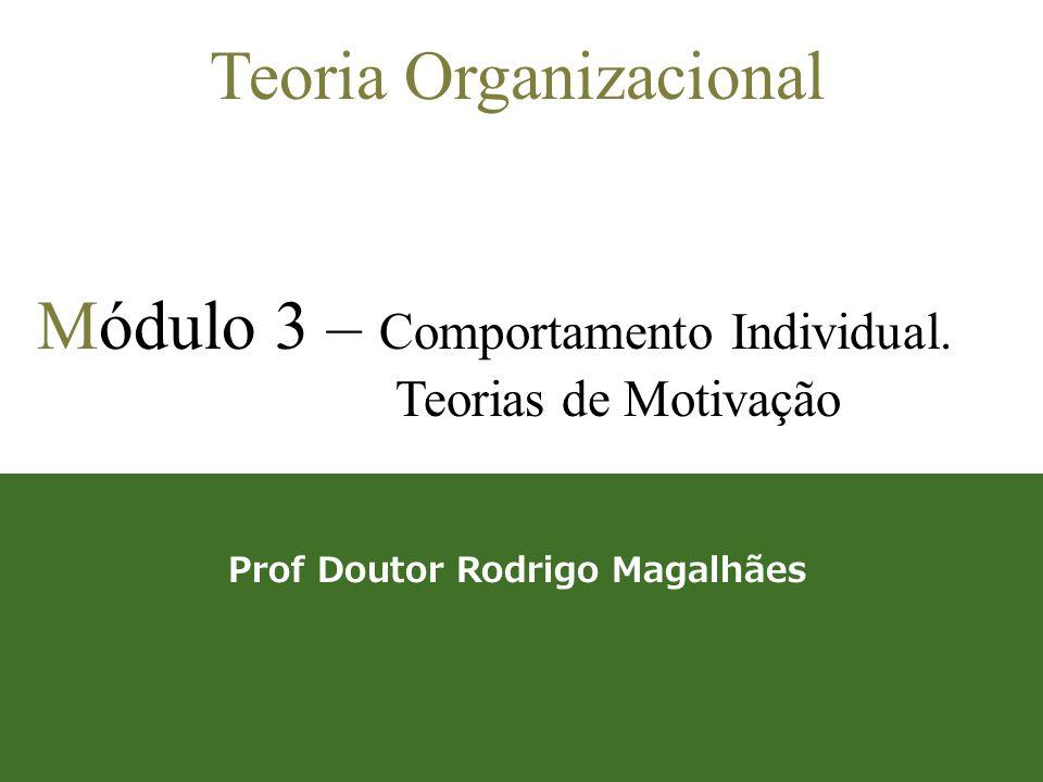 1 Teoria Organizacional Módulo 3 – Comportamento Individual. Teorias de Motivação Prof Doutor Rodrigo Magalhães