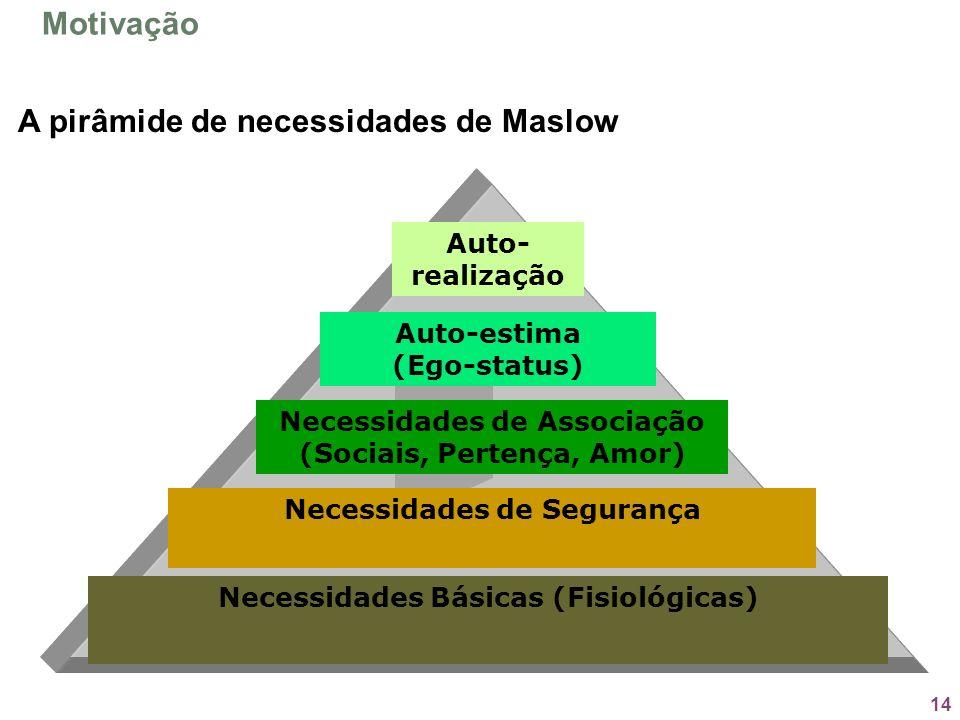 14 A pirâmide de necessidades de Maslow Necessidades Básicas (Fisiológicas) Necessidades de Segurança Necessidades de Associação (Sociais, Pertença, A