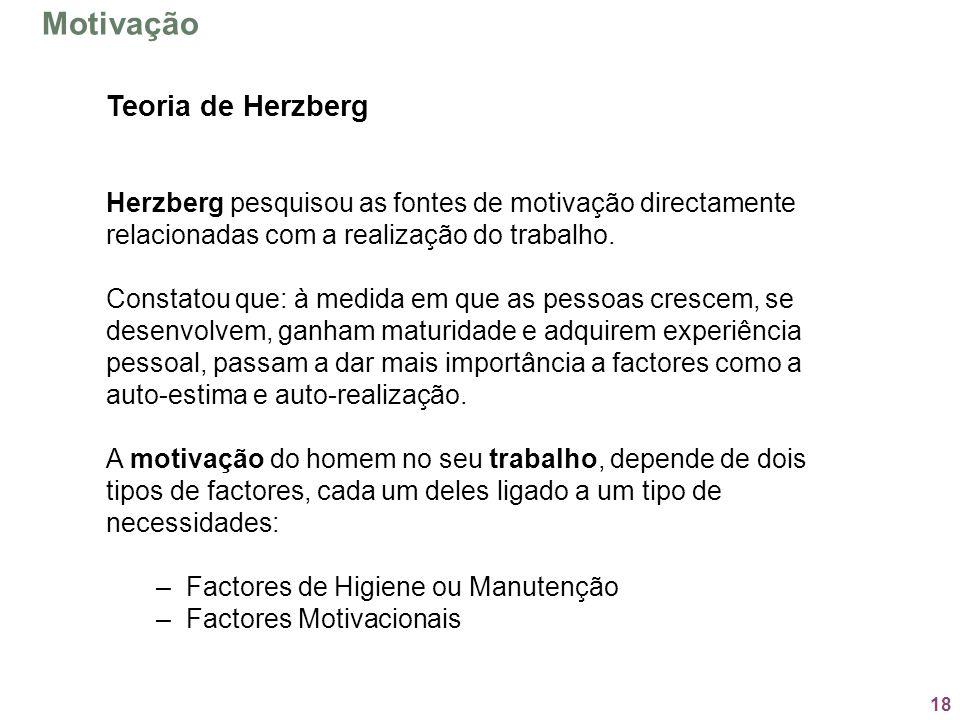 18 Teoria de Herzberg Herzberg pesquisou as fontes de motivação directamente relacionadas com a realização do trabalho. Constatou que: à medida em que