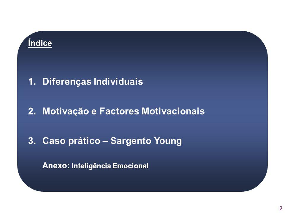 2 Índice 1.Diferenças Individuais 2.Motivação e Factores Motivacionais 3.Caso prático – Sargento Young Anexo: Inteligência Emocional