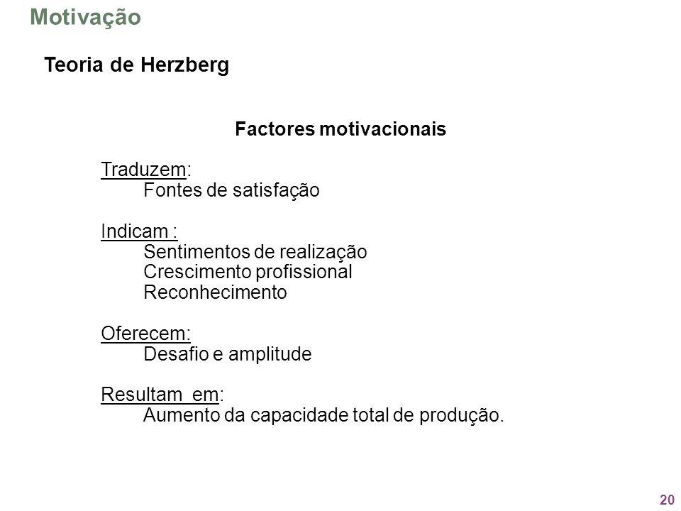 20 Factores motivacionais Traduzem: Fontes de satisfação Indicam : Sentimentos de realização Crescimento profissional Reconhecimento Oferecem: Desafio
