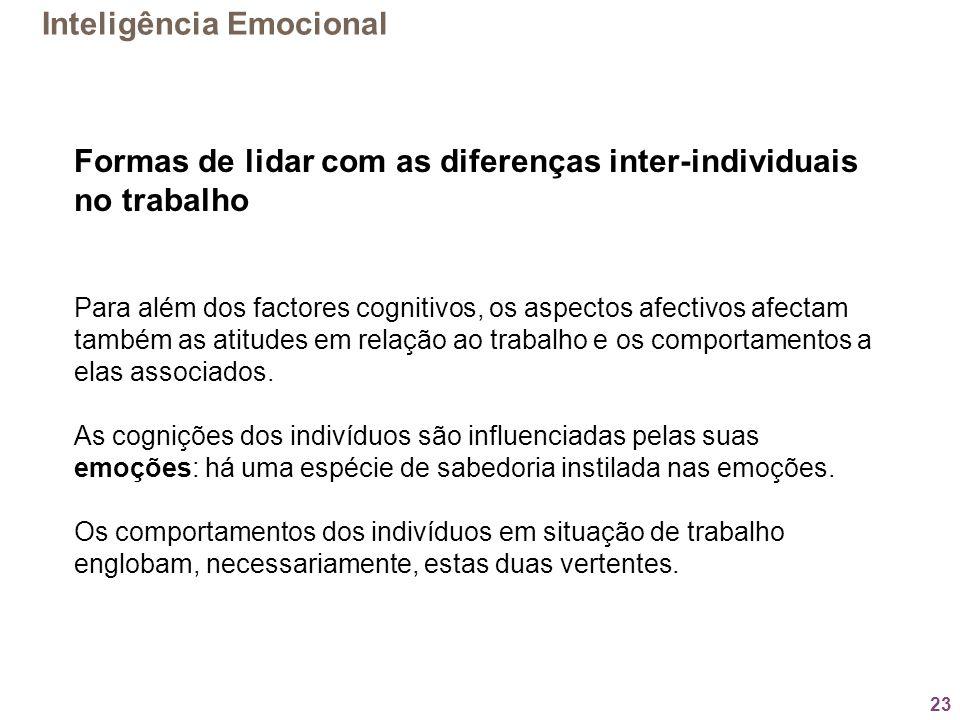 23 Formas de lidar com as diferenças inter-individuais no trabalho Para além dos factores cognitivos, os aspectos afectivos afectam também as atitudes