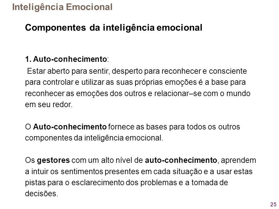 25 Componentes da inteligência emocional 1. Auto-conhecimento: Estar aberto para sentir, desperto para reconhecer e consciente para controlar e utiliz