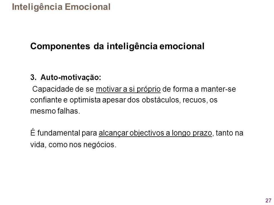27 Componentes da inteligência emocional 3. Auto-motivação: Capacidade de se motivar a si próprio de forma a manter-se confiante e optimista apesar do