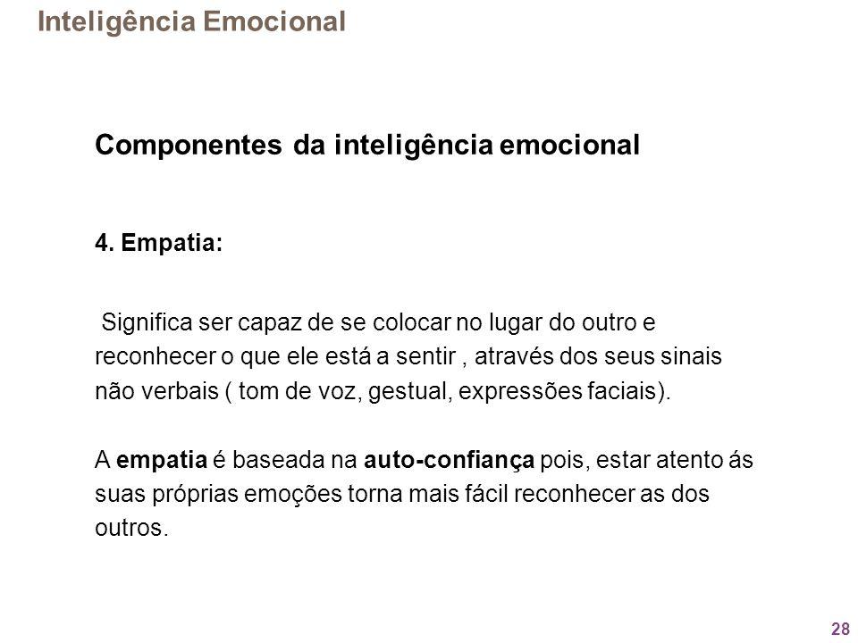 28 Componentes da inteligência emocional 4. Empatia: Significa ser capaz de se colocar no lugar do outro e reconhecer o que ele está a sentir, através
