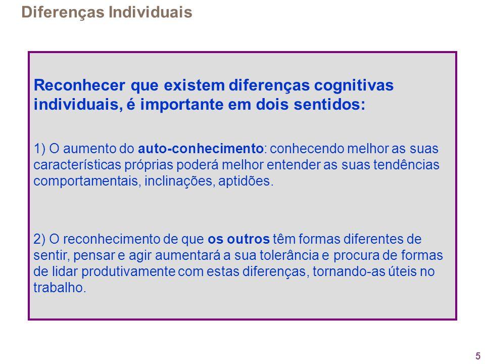 5 Diferenças Individuais Reconhecer que existem diferenças cognitivas individuais, é importante em dois sentidos: 1) O aumento do auto-conhecimento: c