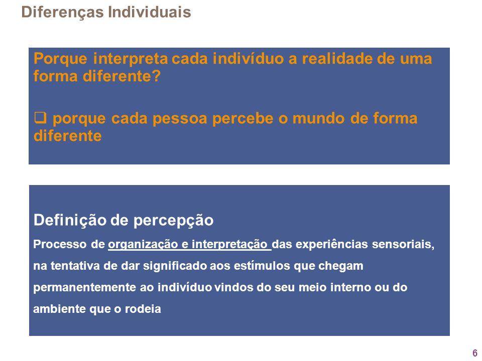 6 Porque interpreta cada indivíduo a realidade de uma forma diferente? porque cada pessoa percebe o mundo de forma diferente Diferenças Individuais De