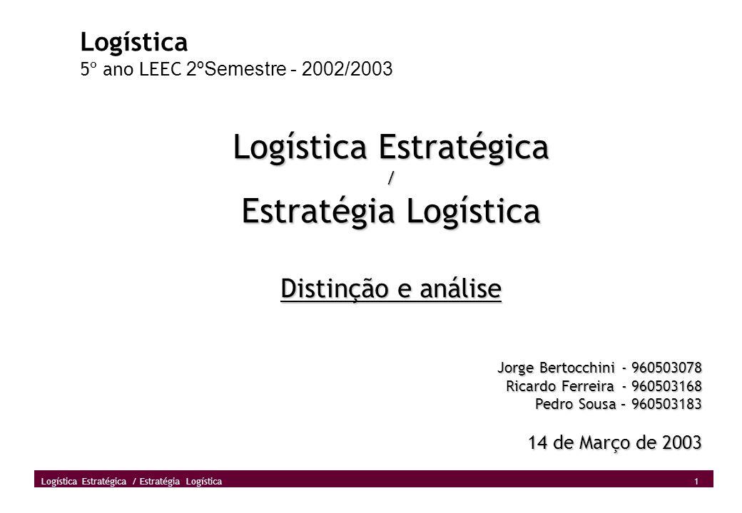 1 Logística Estratégica / Estratégia Logística Logística 5º ano LEEC 2ºSemestre - 2002/2003 Logística Estratégica / Estratégia Logística Distinção e a