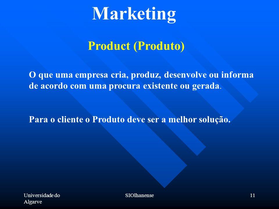 Universidade do Algarve SIOlhanense11 Marketing Product (Produto) O que uma empresa cria, produz, desenvolve ou informa de acordo com uma procura exis