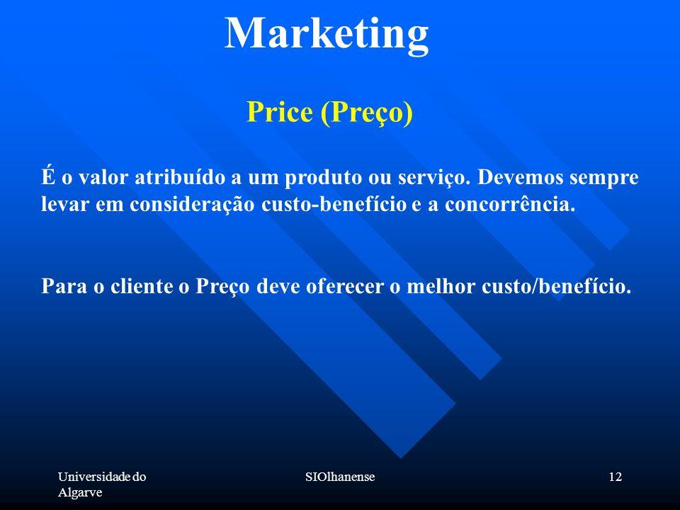 Universidade do Algarve SIOlhanense12 Marketing Price (Preço) É o valor atribuído a um produto ou serviço. Devemos sempre levar em consideração custo-