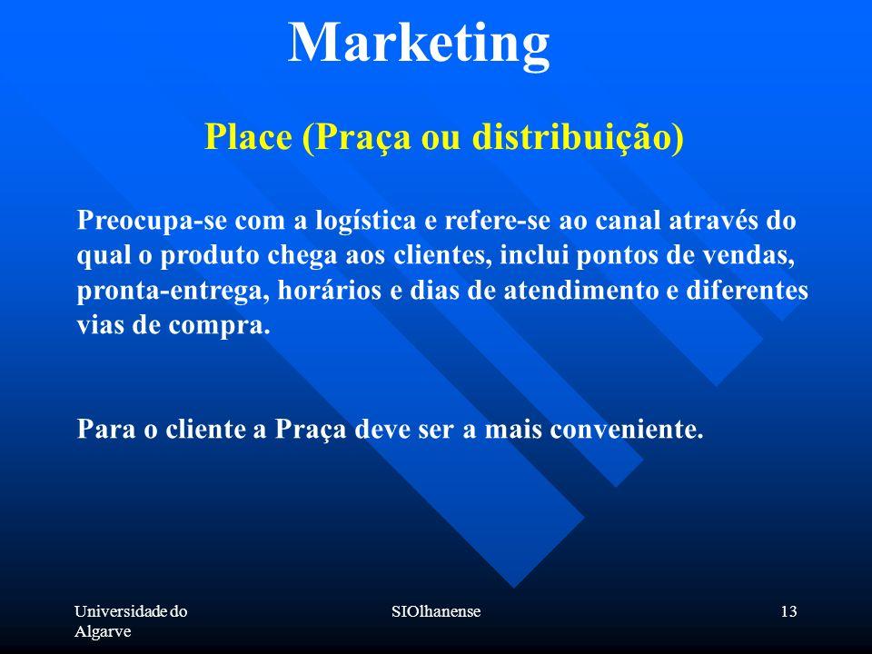 Universidade do Algarve SIOlhanense13 Marketing Place (Praça ou distribuição) Preocupa-se com a logística e refere-se ao canal através do qual o produ