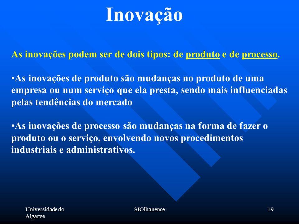Universidade do Algarve SIOlhanense19 Inovação As inovações podem ser de dois tipos: de produto e de processo. As inovações de produto são mudanças no