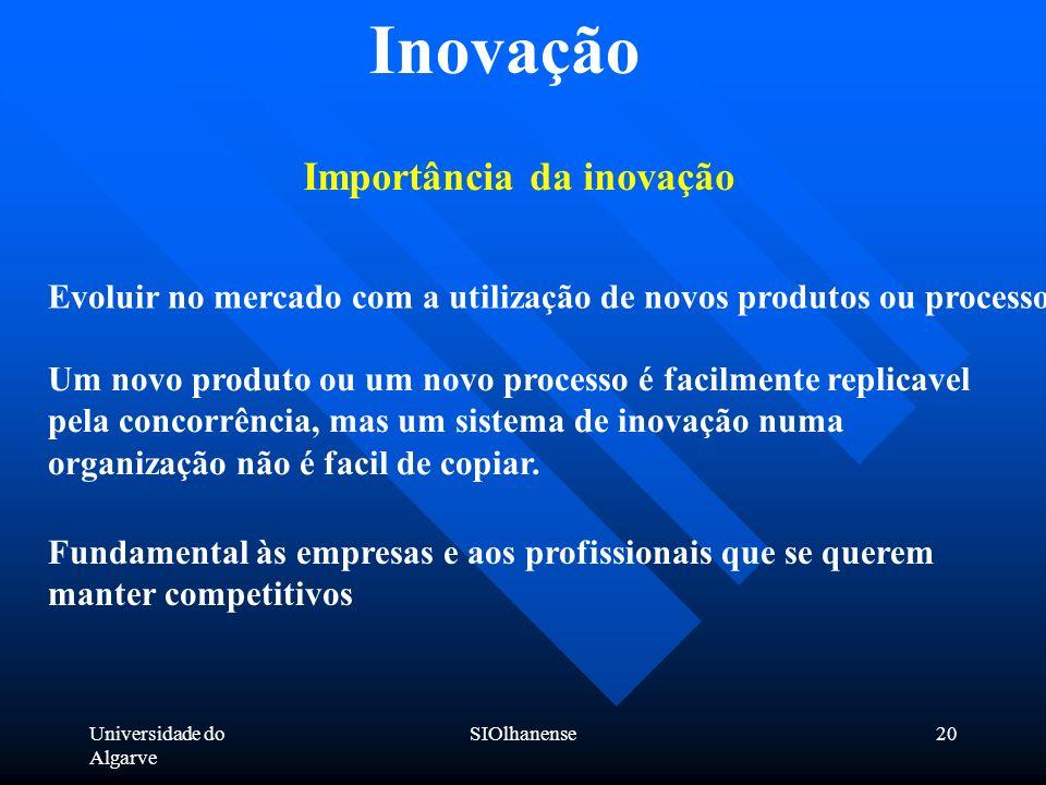 Universidade do Algarve SIOlhanense20 Inovação Importância da inovação Um novo produto ou um novo processo é facilmente replicavel pela concorrência,