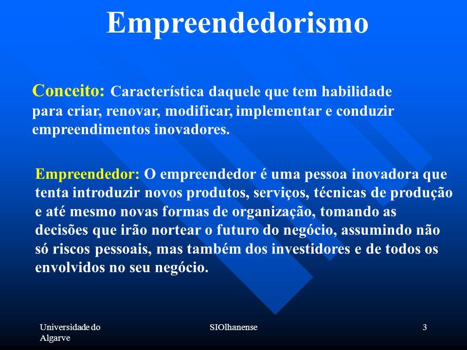 Universidade do Algarve SIOlhanense3 Empreendedorismo Conceito: Característica daquele que tem habilidade para criar, renovar, modificar, implementar