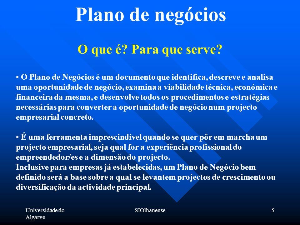 Universidade do Algarve SIOlhanense5 Plano de negócios O que é? Para que serve? O Plano de Negócios é um documento que identifica, descreve e analisa