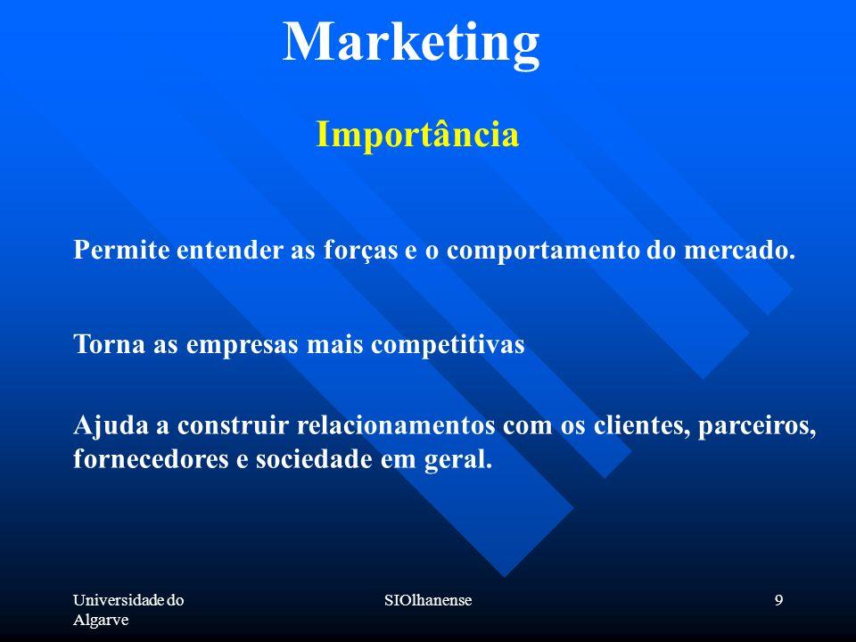 Universidade do Algarve SIOlhanense9 Marketing Importância Ajuda a construir relacionamentos com os clientes, parceiros, fornecedores e sociedade em g