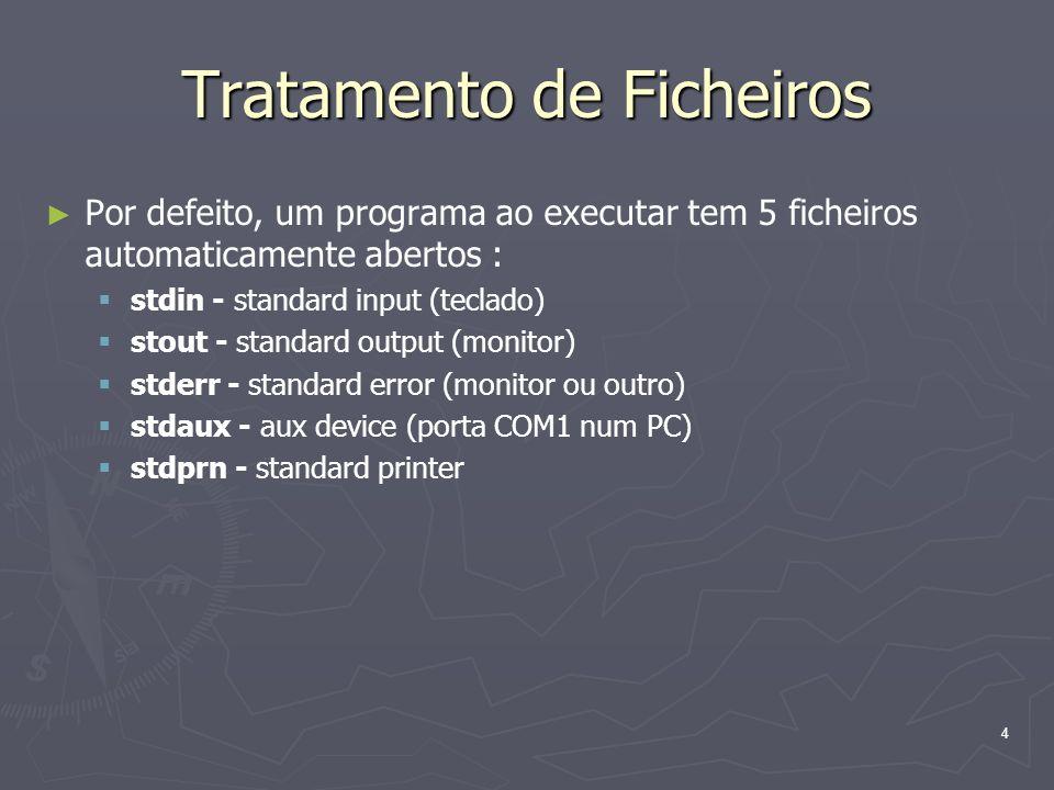 4 Tratamento de Ficheiros Por defeito, um programa ao executar tem 5 ficheiros automaticamente abertos : stdin - standard input (teclado) stout - stan