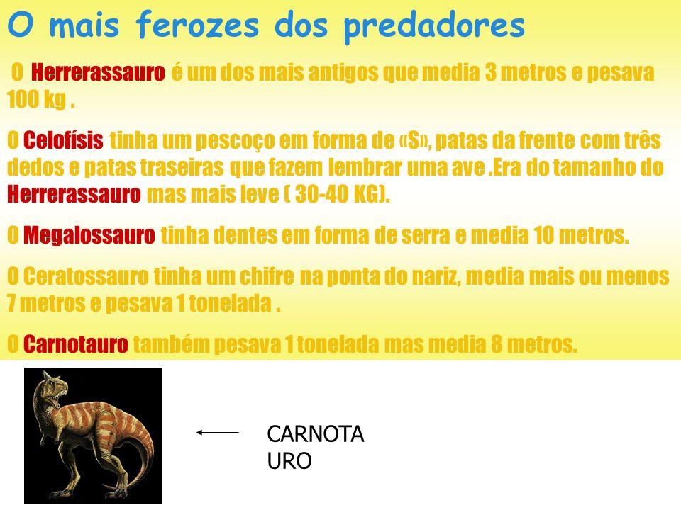 Carnívoros temíveis Os dinossauros carnívoros pertenciam ao grupo dos terápodes. Corredores velozes, os mais pequenos serviam-se dos seus fortes dedos