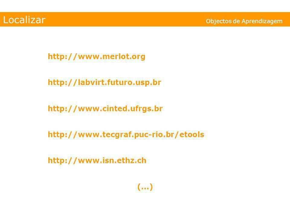 Localizar Objectos de Aprendizagem http://www.merlot.org http://labvirt.futuro.usp.br http://www.cinted.ufrgs.br http://www.tecgraf.puc-rio.br/etools