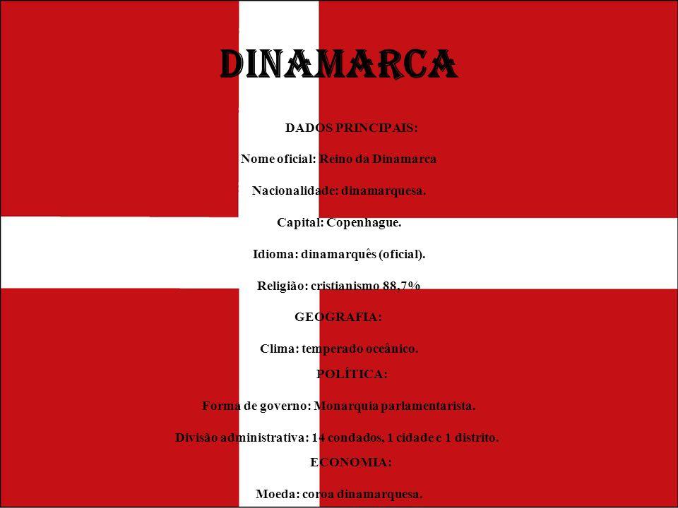 DINAMARCA DADOS PRINCIPAIS: Nome oficial: Reino da Dinamarca Nacionalidade: dinamarquesa. Capital: Copenhague. Idioma: dinamarquês (oficial). Religião