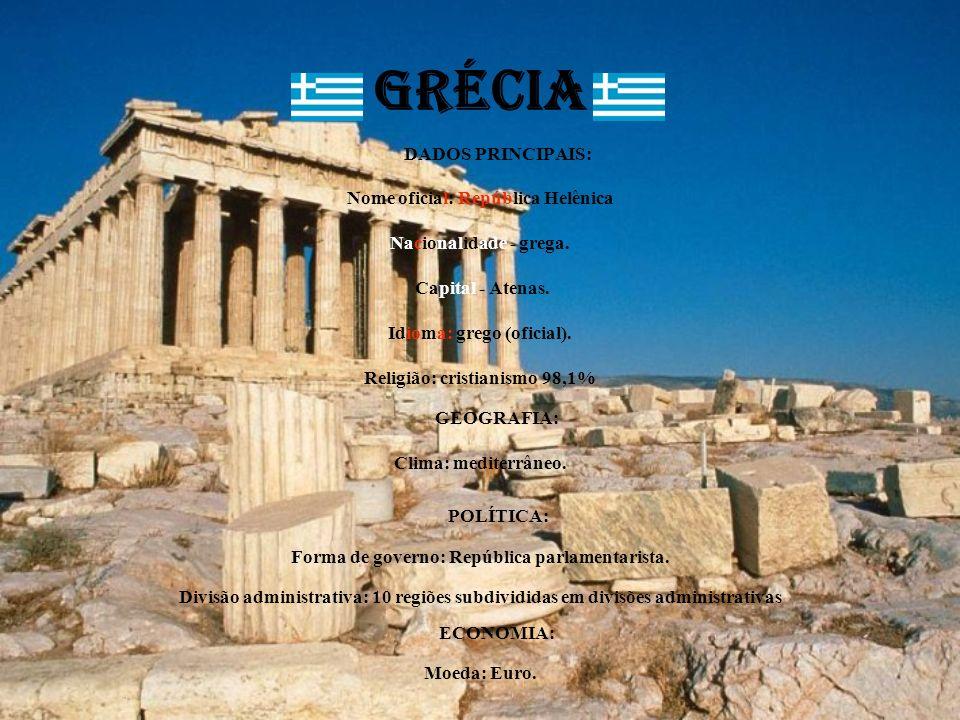 GRÉCIA DADOS PRINCIPAIS: Nome oficial: República Helênica Nacionalidade - grega. Capital - Atenas. Idioma: grego (oficial). Religião: cristianismo 98,