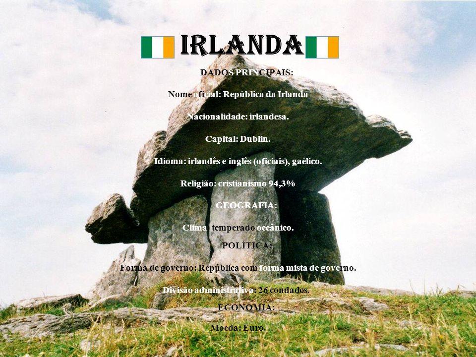 IRLANDA DADOS PRINCIPAIS: Nome oficial: República da Irlanda Nacionalidade: irlandesa. Capital: Dublin. Idioma: irlandês e inglês (oficiais), gaélico.