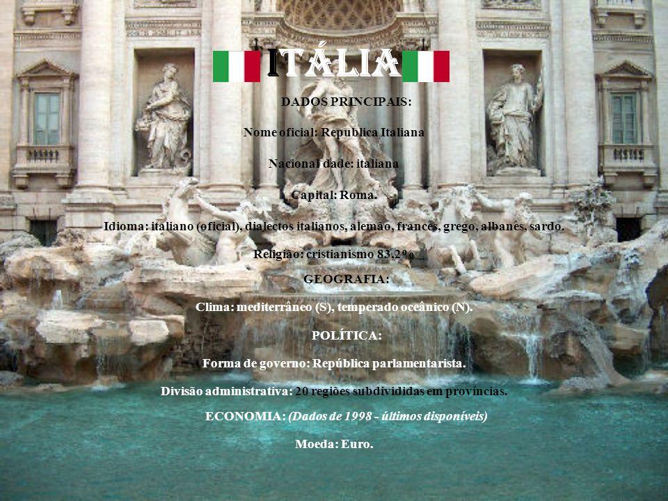 ITÁLIA DADOS PRINCIPAIS: Nome oficial: Republica Italiana Nacionalidade: italiana Capital: Roma. Idioma: italiano (oficial), dialectos italianos, alem