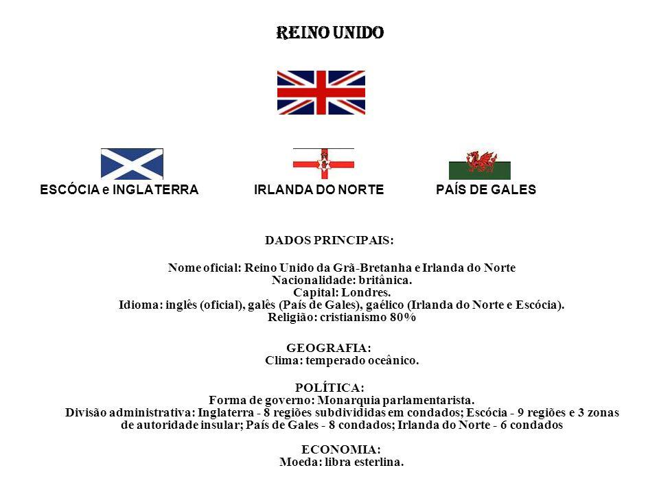 REINO UNIDO ESCÓCIA e INGLATERRA IRLANDA DO NORTE PAÍS DE GALES DADOS PRINCIPAIS: Nome oficial: Reino Unido da Grã-Bretanha e Irlanda do Norte Naciona