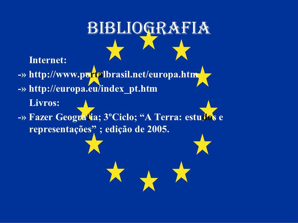 Bibliografia Internet: -» http://www.portalbrasil.net/europa.htm -» http://europa.eu/index_pt.htm Livros: -» Fazer Geografia; 3ºCiclo; A Terra: estudo