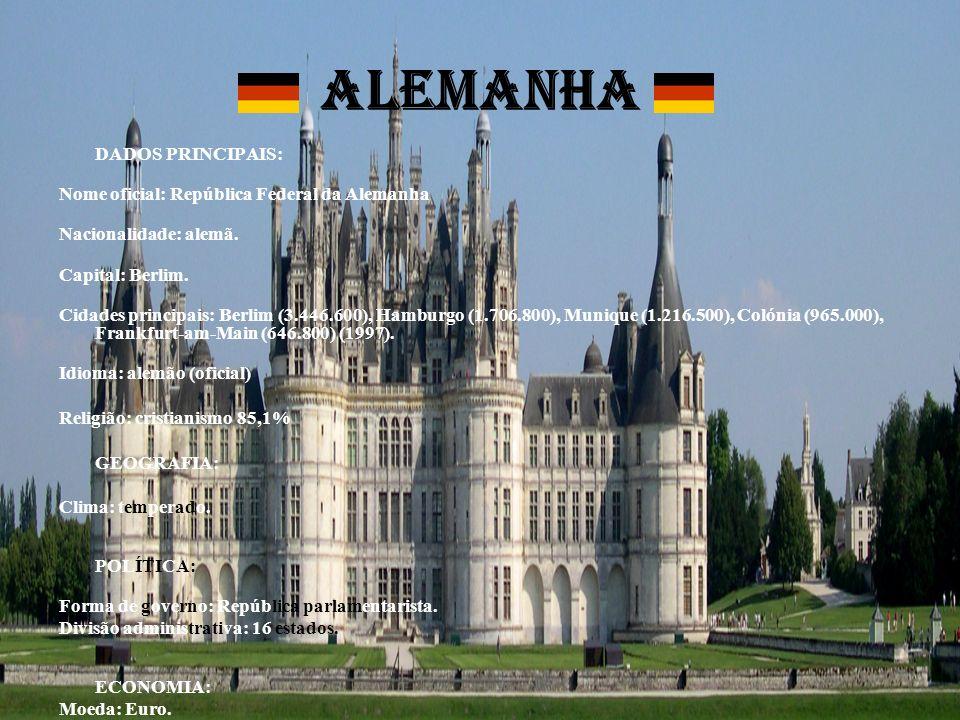 ALEMANHA DADOS PRINCIPAIS: Nome oficial: República Federal da Alemanha Nacionalidade: alemã. Capital: Berlim. Cidades principais: Berlim (3.446.600),