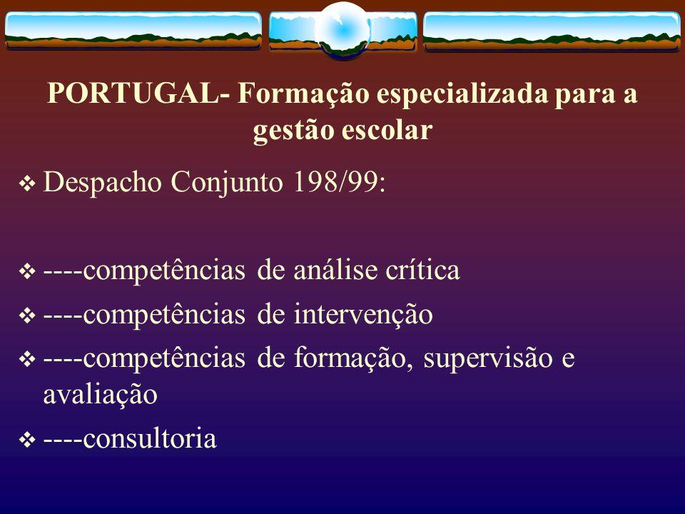 PORTUGAL- Formação especializada para a gestão escolar Despacho Conjunto 198/99: ----competências de análise crítica ----competências de intervenção -