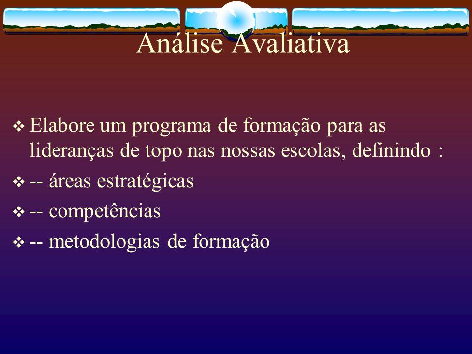 Análise Avaliativa Elabore um programa de formação para as lideranças de topo nas nossas escolas, definindo : -- áreas estratégicas -- competências --