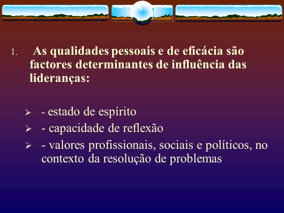 1. As qualidades pessoais e de eficácia são factores determinantes de influência das lideranças: - estado de espírito - capacidade de reflexão - valor