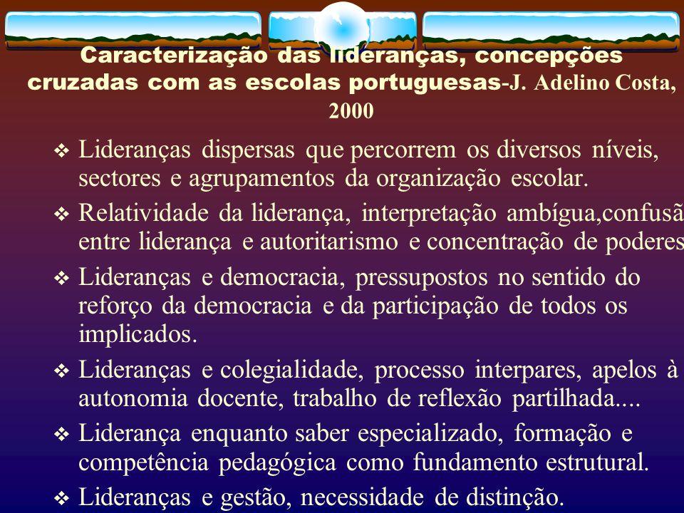 Caracterização das lideranças, concepções cruzadas com as escolas portuguesas -J. Adelino Costa, 2000 Lideranças dispersas que percorrem os diversos n