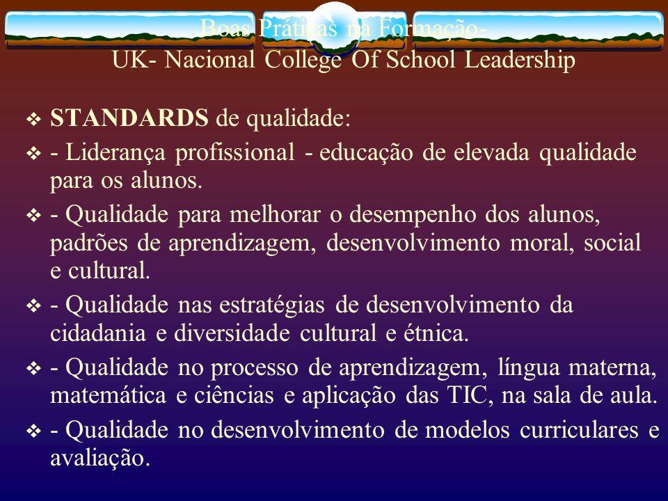 Boas Práticas na Formação- UK- Nacional College Of School Leadership STANDARDS de qualidade: - Liderança profissional - educação de elevada qualidade