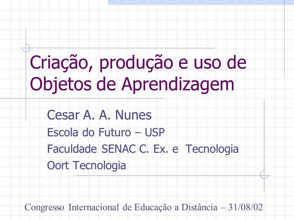 Criação, produção e uso de Objetos de Aprendizagem Cesar A. A. Nunes Escola do Futuro – USP Faculdade SENAC C. Ex. e Tecnologia Oort Tecnologia Congre