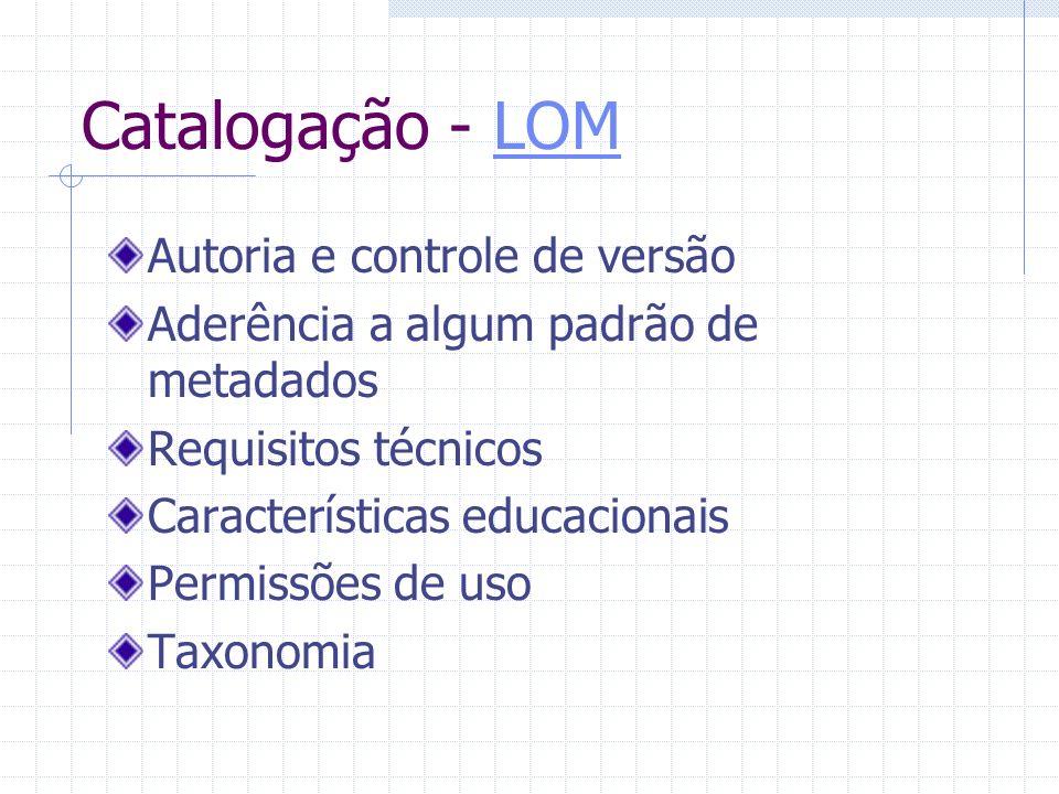 Catalogação - LOMLOM Autoria e controle de versão Aderência a algum padrão de metadados Requisitos técnicos Características educacionais Permissões de