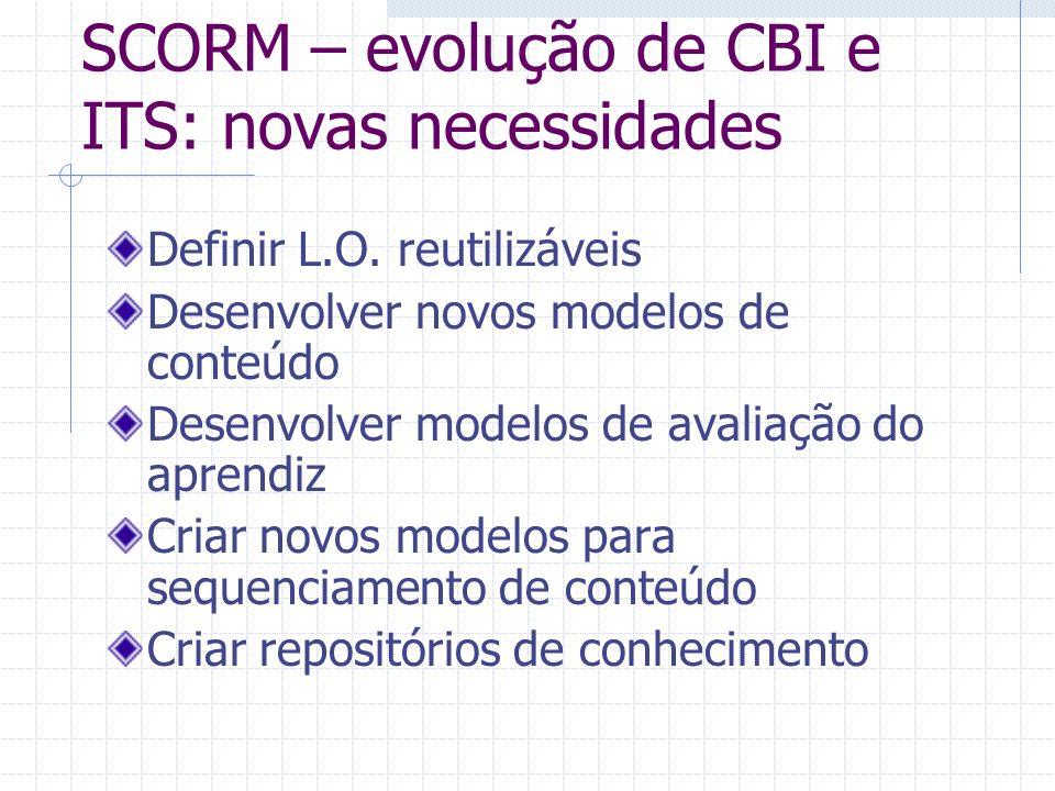 SCORM – evolução de CBI e ITS: novas necessidades Definir L.O. reutilizáveis Desenvolver novos modelos de conteúdo Desenvolver modelos de avaliação do