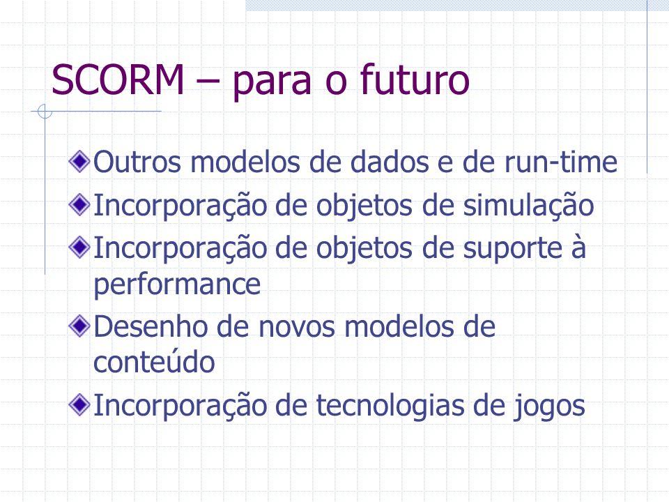 SCORM – para o futuro Outros modelos de dados e de run-time Incorporação de objetos de simulação Incorporação de objetos de suporte à performance Dese