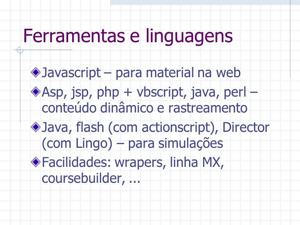 Ferramentas e linguagens Javascript – para material na web Asp, jsp, php + vbscript, java, perl – conteúdo dinâmico e rastreamento Java, flash (com ac